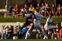 Sky Blue FC midfielder Nayeli Rangel (7) and Washington Spirit midfielder Holly King (20). Sky Blue FC defeated the Washington Spirit 1-0 during a National Women's Soccer League (NWSL) match at Yurcak Field in Piscataway, NJ, on August 3, 2013.
