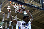 26 November 2014: Duke's Justise Winslow dunks the ball. The Duke University Blue Devils hosted the Furman University Paladins at Cameron Indoor Stadium in Durham, North Carolina in a 2014-16 NCAA Men's Basketball Division I game. Duke won the game 93-54.