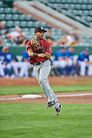 Rubendy Jaquez (49) of the Idaho Falls Chukars throws to first base during a game against the Ogden Raptors at Lindquist Field on August 29, 2018 in Ogden, Utah. Idaho Falls defeated Ogden 15-6. (Stephen Smith/Four Seam Images)
