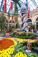 United States, Nevada, Las Vegas. Inside Bellagio's garden with an asiatic theme. Smoke blowing dragons live here.