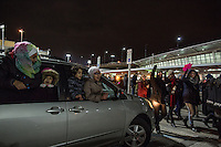 NEW YORK, NY - JANUARY 28: Muslim girls chant from the window of a car during a demonstration against the Muslim immigration ban at John F. Kennedy International Airport on January 28, 2017 in New York City. President Trump signed an executive order to suspend refugee arrivals and people with valid visa from Iran, Iraq, Libya, Somalia, Sudan, Syria and Yemen. Photo by VIEWpress/Maite H. Mateo.