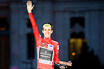 Simon Yates (GBR) Mitchelton-Scott finishes on the podium in 1st place overall his first ever Grand Tour victory, at the end of the final Stage 21 of the La Vuelta 2018, running 100.9km for Alcorcon to Madrid, Spain. 16th September 2018.                   <br /> Picture: Unipublic/Photogomezsport | Cyclefile<br /> <br /> <br /> All photos usage must carry mandatory copyright credit (© Cyclefile | Unipublic/Photogomezsport)