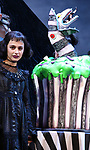"""Sophia Anne Caruso during the """"Beetlejuice"""" Celebrates 100th Performance on Broadway with Big Sandy the Sandworm, Shrunken Head Guy and a cake designed by Carlo's Bakery at the Winter Garden Theatre on July 23, 2019 in New York City.."""