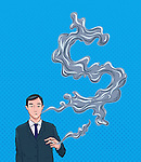 Illustrative image of businessman exhaling dollar sign smoke representing business minded
