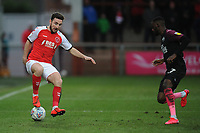 Fleetwood Town's Lewie Coyle under pressure from Peterborough United's Mohamed Eisa<br /> <br /> Photographer Kevin Barnes/CameraSport<br /> <br /> The EFL Sky Bet League One - Fleetwood Town v Peterborough United - Saturday 15th February 2020 - Highbury Stadium - Fleetwood<br /> <br /> World Copyright © 2020 CameraSport. All rights reserved. 43 Linden Ave. Countesthorpe. Leicester. England. LE8 5PG - Tel: +44 (0) 116 277 4147 - admin@camerasport.com - www.camerasport.com