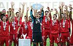 Deutscher Meister 2020, FC Bayern Muenchen v.l. Robert Lewandowski, Mickael ''Michael'' Cuisance, Leon Goretzka, Joshua Kimmich, Serge Gnabry, Torwart Manuel Neuer mit Meisterschale, Sapreet Singh, Oliver Batista Meier, Benjamin Pavard, Lucas Hernandez<br />Wolfsburg, 27.06.2020: nph00001: , Fussball Bundesliga, VfL Wolfsburg - FC Bayern Muenchen 0:4<br />Foto: Tim Groothuis/Witters/Pool//via nordphoto<br /> DFL REGULATIONS PROHIBIT ANY USE OF PHOTOGRAPHS AS IMAGE SEQUENCES AND OR QUASI VIDEO<br />EDITORIAL USE ONLY<br />NATIONAL AND INTERNATIONAL NEWS AGENCIES OUT