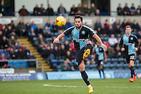 Sam Wood of Wycombe Wanderers controls the ball during the Sky Bet League 2 match between Wycombe Wanderers and Leyton Orient at Adams Park, High Wycombe, England on 23 January 2016. Photo by Andy Rowland / PRiME Media Images.