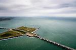 Nederland, Zeeland, Oosterschelde, 19-10-2014; Oosterschelde Stormvloedkering tussen Schouwen en Noord-Beveland. Sluitgat Schaar, werkeiland Roggenplaat, sluitgat Hammen. Schouwen-Duiveland in de achtergrond, links de Noordzee. <br /> Storm surge barrier in Oosterschelde (East Scheldt), between Islands of Schouwen-Duiveland and Noord-Beveland, North Sea on the left. Under normal circumstances the barrier is open to allow for the tide to enter and exit. In case of high tides in combination with storm, the slides are closed. <br /> luchtfoto (toeslag op standard tarieven);<br /> aerial photo (additional fee required);<br /> copyright foto/photo Siebe Swart