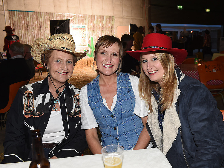 Ann and Michelle Bourton and Una Marrinan pictured at the barn dance at Oberstown farm. Photo:Colin Bell/pressphotos.ie