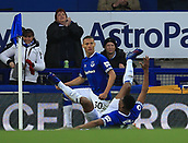 17th March 2019, Goodison Park, Liverpool, England; EPL Premier League Football, Everton versus Chelsea; Richarlison of Everton celebrates his goal after 49 minutes with team mate Yerry Mina