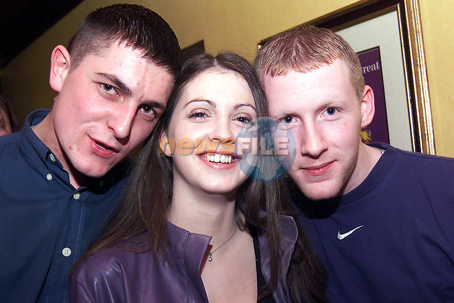 Robbie Kirk, Julianstown, Roisin Everard, Donore and Patrick McCullough, Oldbridge pictured enjoying a night out in the Laurence..pic: Newsfile