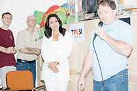 Democratic presidential candidate and Hawaii representative (D-HI 2nd) Tulsi Gabbard waits to be introduced before speaking at Weare Public Library in Weare, New Hampshire, on Thu., September 5, 2019. Gabbard is the sixth Democratic committee invited to the area to speak by the Weare Democrats.