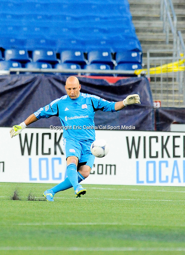 MAY 19 2012 New England Revolution goalkeeper Matt Reis #1 send the ball into play at Gillette Stadium on Saturday against the Houston Dynamo..