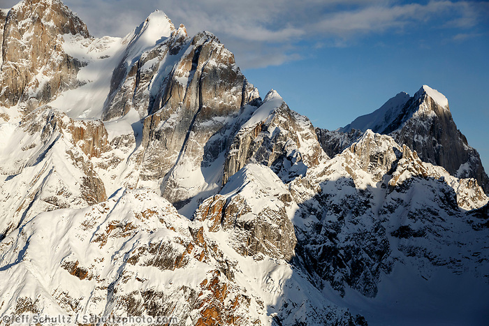 Aerial Winter landscape of Mooses tooth in the Alaska Range Winter 2017<br /> <br /> Photo by Jeff Schultz/SchultzPhoto.com  (C) 2017  ALL RIGHTS RESERVED