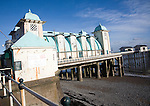 Promenade, pier and beach in winter, Penarth, Wales