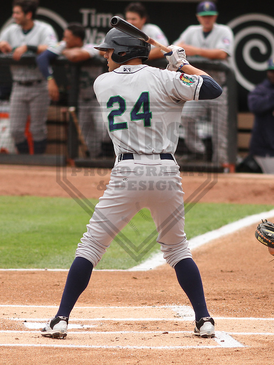 APPLETON - June 2015: Cedar Rapids Kernels outfielder Zack Larson (24) during a Midwest League baseball game against the Wisconsin Timber Rattlers on June 30th, 2015 at Fox Cities Stadium in Appleton, Wisconsin. Cedar Rapids defeated Wisconsin 3-2. (Brad Krause/Krause Sports Photography)