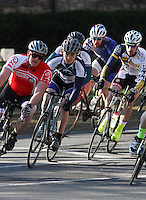 Penn State's Matt Mackenzie, D'Youville College's Jacob Haines  and Drexel's Andrew Keenan, right, during the Men's D Criterium race at the Nittany Cycling Classic hosted by Penn State Cycling in State College, Pa., on April 20, 2014. Photo/©2014 Craig Houtz
