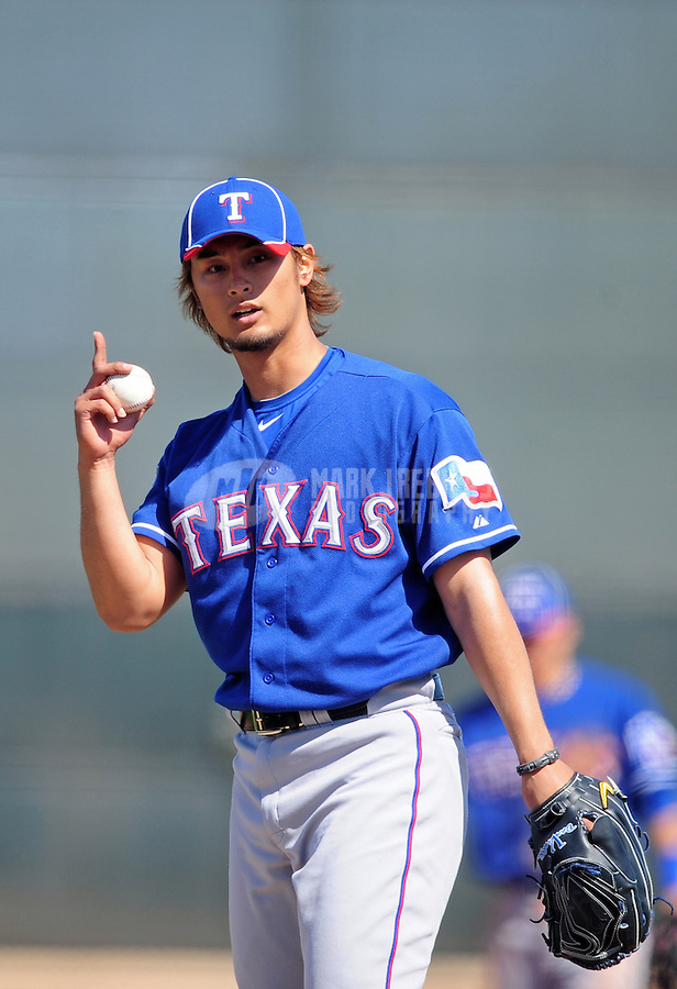 Mar. 2, 2012; Surprise, AZ, USA; Texas Rangers pitcher Yu Darvish during an intrasquad game on the practice fields at Surprise Stadium.  Mandatory Credit: Mark J. Rebilas-.