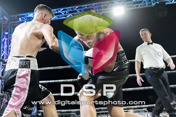 Tyler Goodjohn vs Adam Barker Welterweight Contest During MTK London: Summer Showdown. Photo by: Simon Downing.<br /> <br /> Saturday July 22nd 2017 - Brentwood Centre, Brentwood, Essex, United Kingdom.