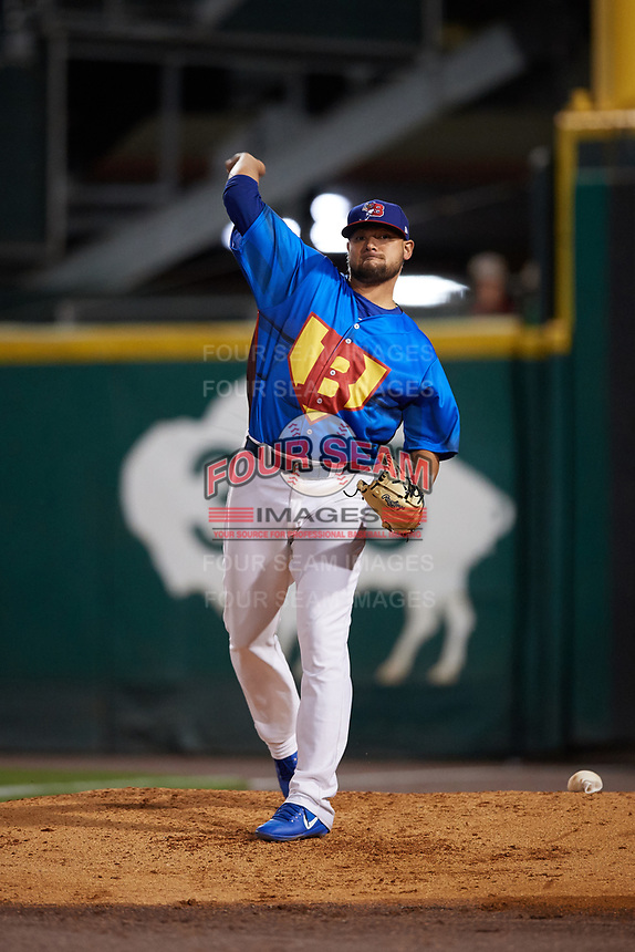 Buffalo Bisons relief pitcher Leonel Campos (45) warms up in the bullpen during a game against the Gwinnett Braves on August 19, 2017 at Coca-Cola Field in Buffalo, New York.  The Bisons wore special Superhero jerseys for Superhero Night.  Gwinnett defeated Buffalo 1-0.  (Mike Janes/Four Seam Images)
