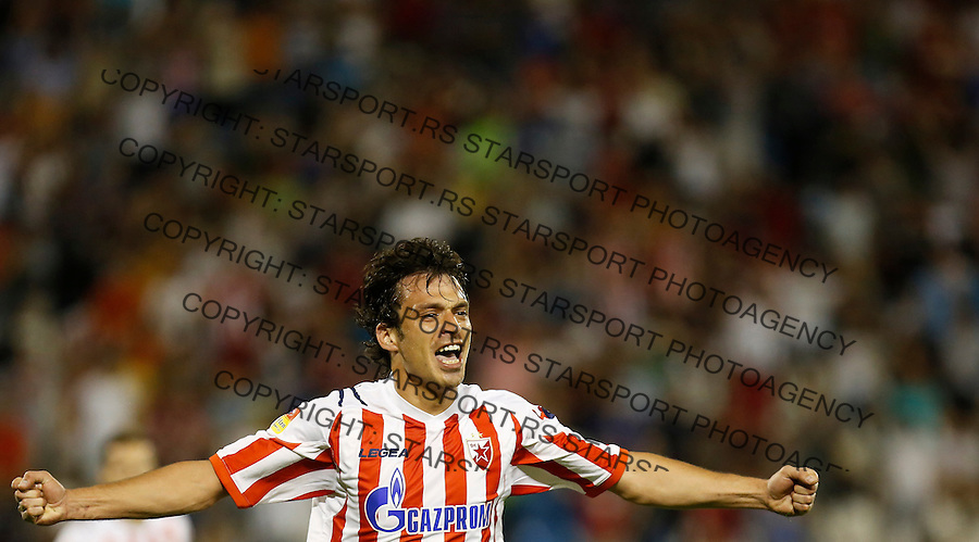 Fudbal Super liga season 2012-2013.Crvena Zvezda v Donji Srem.Nikola Mikic celebrates the goal.Beograd, 04.27.2013..foto: Srdjan Stevanovic/Starsportphoto ©