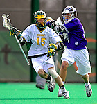 10 April 2007: University of Vermont Catamounts' Luke LaBranche, a Sophomore from Cold Springs Harbor, NY, in action against the Holy Cross Crusaders at Moulton Winder Field, in Burlington, Vermont. The Crusaders rallied to defeat the Catamounts 5-4...Mandatory Photo Credit: Ed Wolfstein Photo
