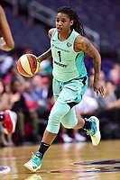Washington, DC - June 15, 2018: New York Liberty guard Shavonte Zellous (1) brings the ball up court during game between the Washington Mystics and New York Liberty at the Capital One Arena in Washington, DC. (Photo by Phil Peters/Media Images International)