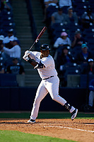 New York Yankees Chris Gittens (92) bats during a Spring Training game against the Toronto Blue Jays on February 22, 2020 at the George M. Steinbrenner Field in Tampa, Florida.  (Mike Janes/Four Seam Images)