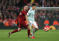 Bayern Munich's James Rodriguez shields the ball from Liverpool's Jordan Henderson<br /> <br /> Photographer Rich Linley/CameraSport<br /> <br /> UEFA Champions League Round of 16 First Leg - Liverpool and Bayern Munich - Tuesday 19th February 2019 - Anfield - Liverpool<br />  <br /> World Copyright © 2018 CameraSport. All rights reserved. 43 Linden Ave. Countesthorpe. Leicester. England. LE8 5PG - Tel: +44 (0) 116 277 4147 - admin@camerasport.com - www.camerasport.com