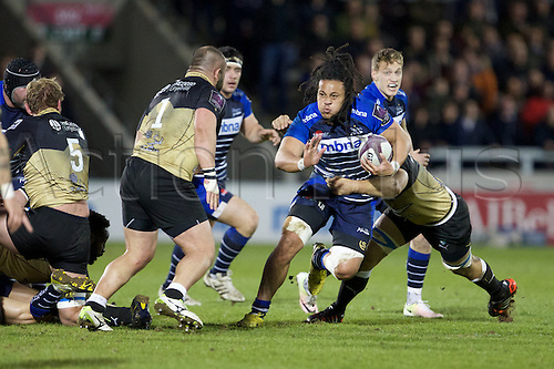 08.04.2016. AJ Bell Stadium, Salford, England. European Champions Cup. Sale versus Montpellier. Sale Sharks flanker TJ Ioane tackled by Montpellier prop Misha Nariashvili.