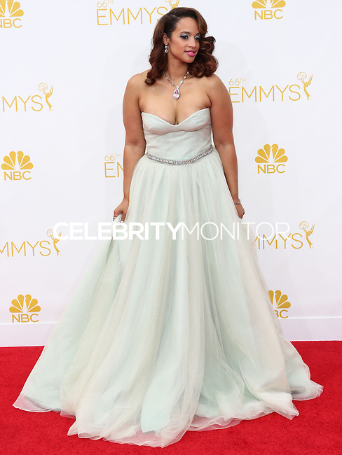 LOS ANGELES, CA, USA - AUGUST 25: Actress Dascha Polanco arrives at the 66th Annual Primetime Emmy Awards held at Nokia Theatre L.A. Live on August 25, 2014 in Los Angeles, California, United States. (Photo by Celebrity Monitor)