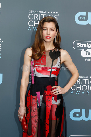 Jessica Biel attends the 23rd Annual Critics' Choice Awards at Barker Hangar in Santa Monica, Los Angeles, USA, on 11 January 2018. Photo: Hubert Boesl - NO WIRE SERVICE - Photo: Hubert Boesl/dpa /MediaPunch ***FOR USA ONLY***