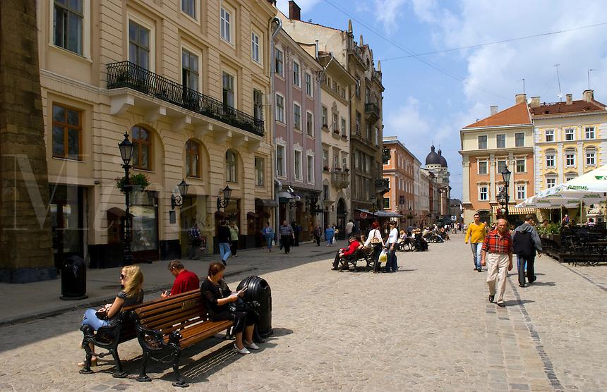 Architecture in city center, Lviv, Ukraine