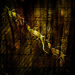 A line of lizards moves across a Pre-Columbian Mayan tablet.