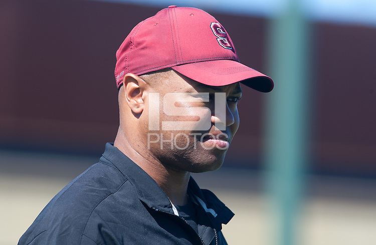 STANFORD, CA -- August 19, 2012: David Shaw, head coach, during the annual Open House of the Stanford Cardinal football team Sunday.