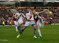 30th November 2019; Turf Moor, Burnley, Lanchashire, England; English Premier League Football, Burnley versus Crystal Palace; Martin Kelly of Crystal Palace blocks a shot in the area by Ashley Barnes of Burnley - Strictly Editorial Use Only. No use with unauthorized audio, video, data, fixture lists, club/league logos or 'live' services. Online in-match use limited to 120 images, no video emulation. No use in betting, games or single club/league/player publications