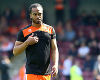 Blackpool's Nathan Delfouneso during the pre-match warm-up <br /> <br /> Photographer David Shipman/CameraSport<br /> <br /> The EFL Sky Bet League One - Scunthorpe United v Blackpool - Friday 19th April 2019 - Glanford Park - Scunthorpe<br /> <br /> World Copyright © 2019 CameraSport. All rights reserved. 43 Linden Ave. Countesthorpe. Leicester. England. LE8 5PG - Tel: +44 (0) 116 277 4147 - admin@camerasport.com - www.camerasport.com