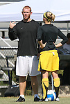 23 September 2007: San Francisco head coach Mark Carr talks with Katie Hodgson. The University of North Carolina Tar Heels defeated the University of San Francisco Dons 2-0 at Koskinen Stadium in Durham, North Carolina in an NCAA Division I Women's Soccer game, and part of the annual Duke Adidas Classic tournament.