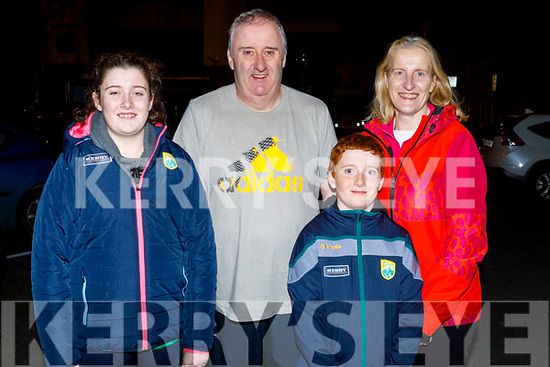 Sarah, Michael and Michael Keane and Susan Kelly from Castlegregory ready to enjoy the evening in Siamsa Tire on Saturday.