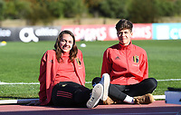 20200307  Parchal , Portugal : Belgian Jody Vangheluwe and Isabelle Iliano (r) pictured prior to the female football game between the national teams of Belgium called the Red Flames and Portugal on the second matchday of the Algarve Cup 2020 , a prestigious friendly womensoccer tournament in Portugal , on saturday 7 th March 2020 in Parchal , Portugal . PHOTO SPORTPIX.BE | DAVID CATRY