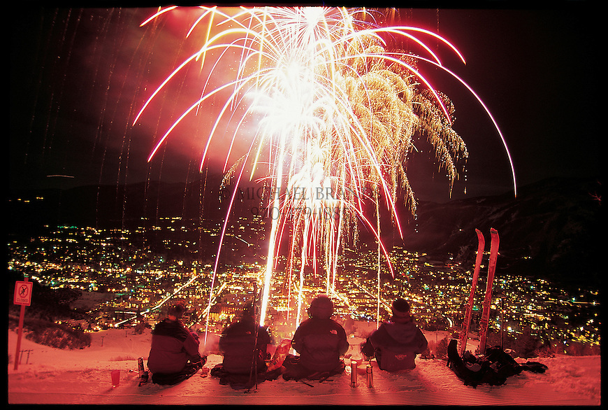 Skiers enjoy watching Winterskol fireworks from Aspen Mountain. © Michael Brands.