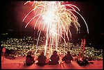 Skiers enjoy watching Winterskol fireworks from Aspen Mountain. © Michael Brands.