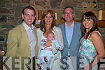 Baby Ivan O'Shea, Ballymallis, Beaufort, pictured with his parents Niamh and Jp and godparents Tomas O'Shea and Grainne Murnane after he was christened in Milltown church and afterwards celebrated in Beaufort Bar. ..