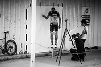 photographer Timm K&ouml;lln at work with Marcus Burghardt (DEU/BORA-hansgrohe) (shooting his calves) afer the stage<br /> <br /> Stage 1: Noirmoutier-en-l'&Icirc;le &gt; Fontenay-le-Comte (189km)<br /> <br /> Le Grand D&eacute;part 2018<br /> 105th Tour de France 2018<br /> &copy;kramon