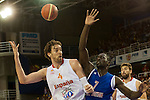 Spain's  Pau Gasol and Great Britain's Pops Mensah-Bonsu during friendly match.July 9,2012.(ALTERPHOTOS/Ricky)