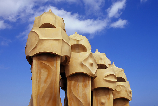 SPAIN, BARCELONA, MILA HOUSE, 'LA PEDRERA', ROOF, VENTILATION SHAFTS