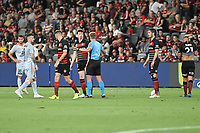 1st January 2020; Bankwest Stadium, Parramatta, New South Wales, Australia; Australian A League football, Western Sydney Wanderers versus Brisbane Roar; Patrick Ziegler of Western Sydney Wanderers receives a cut lip in a challenge - Editorial Use
