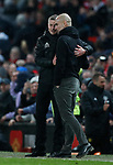 Ole Gunnar Solskjaer manager of Manchester United consoles Josep Guardiola manager of Manchester City during the Premier League match at Old Trafford, Manchester. Picture date: 8th March 2020. Picture credit should read: Darren Staples/Sportimage