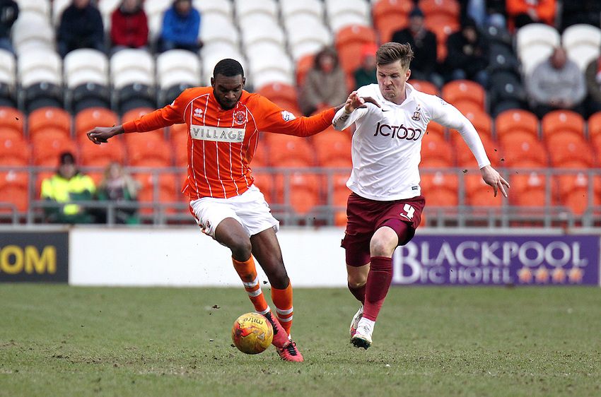 Blackpool's Hayden White holds off the challenge from Bradford City's Stephen Darby<br /> <br /> Photographer Rich Linley/CameraSport<br /> <br /> Football - The Football League Sky Bet League One - Blackpool v Bradford City - Saturday 27th February 2016 - Bloomfield Road - Blackpool   <br /> <br /> &copy; CameraSport - 43 Linden Ave. Countesthorpe. Leicester. England. LE8 5PG - Tel: +44 (0) 116 277 4147 - admin@camerasport.com - www.camerasport.com