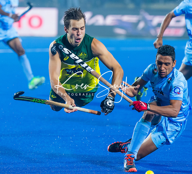 LUCKNOW (India) -   Junior World Cup hockey  U21 for men . Semi Final AUSTRALIA v INDIA  (2-2). Tom Craig (AUS) is stopped by Gurinder Sighn (India)  COPYRIGHT  KOEN SUYK